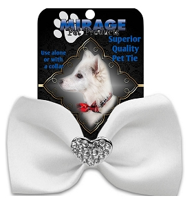Crystal Heart Widget Pet Bowtie White